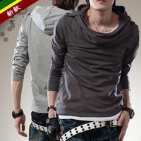 New fashion style epaulette with a hood slim long sleeve men T-shirt free shipping LJ230