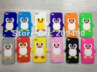 For iPod Touch 5 case,Free Shipping,NEW penguins Soft Silicon Back Cover Cell phone Case for Touch 5 case