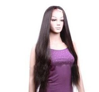 "Lace front Wig Yaki Straight 24"" Indian Remy Human Hair Glue Less"