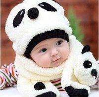1set Retail free shipping Baby hat+scarf set Animal design winter children's panda baby hats,baby caps Warm velvet ear muff cap