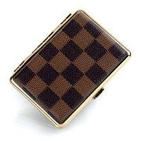 New Design grid Leather18 filter Cigarette Box metal cigarette case, free shipping