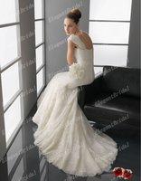 New Model Sleeveless Mermaid Ivory /White Lace Royal Wedding Dress