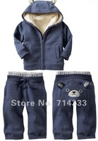 Retail 2012 New! baby winter clothes set, Cotton & fleece thick baby suit kids sport suit with hat coat +pants 2pcs set