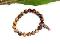 10mm Tiger eye Gem Buddhist prayer beads bracelet Mala DD009