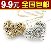 Retro small accessories lena cutout heart exquisite long design long necklace Min. Order is $10(Mix Order)