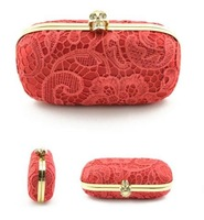 free shipping women evening clutch bags for lady with crystal skulll and lace