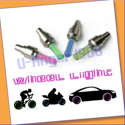 50pcs /lot on sale Car Bike Bicycle Tire Wheel Valve Led Flash Light +free shipping(China (Mainland))