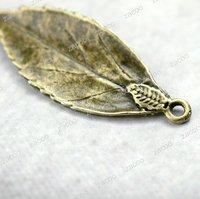 Leaf Pendnats, Zinc Alloy, Antique Brass, Sold per pkg of 15pcs, 35x13x2mm, 2mm Hole, TS7120