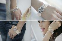 2014 New Arrival Vintage South Korean Four Layer Pearl Silver Flower Rhinestone Bracelet B24
