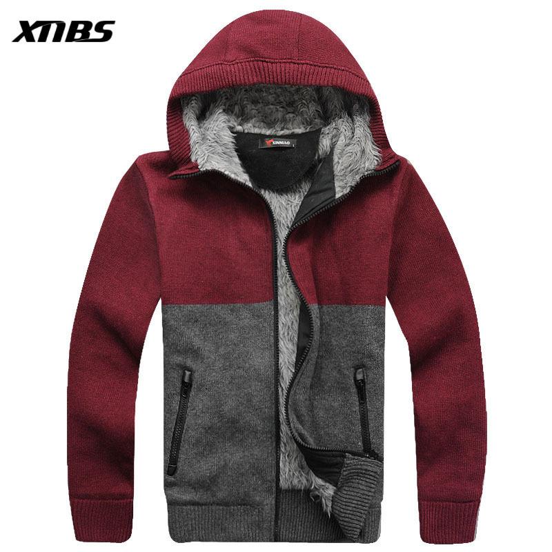 Men's clothing 2012 winter hooded thickening plus velvet cardigan sweater male Men sweater(China (Mainland))