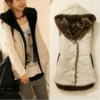 FS608 Autumn &winter Coral Fleece Women's Single Breasted Vest Coat Free Shipping