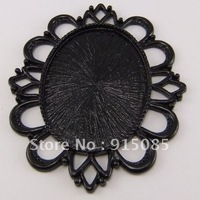 Vintage Style Black Tone Alloy Lace Cameo Setting 40*30mm Pendant 4pcs 03179 60*52mm