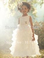 Free Shipping VB020 Beautiful A Line Sleeveless Ruffles Organza Flower Girl Dresses for Weddings