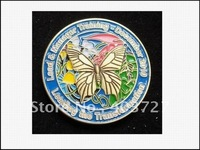 3D BUTTERFLYLEADING THE TRANSFORMATION CHALLENGE COINS, WHOLESALE 50pcs/lot