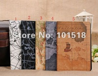 "50pcs/lot&free shipping Map Leather Case Cover Skin For Apple Ipad MINI 7""tablet"