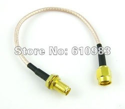 Free shipping (5pieces/lot) Pigtail Cable RP-SMA male to RP SMA female goldplated connector extension cord cable RG316 15cm(China (Mainland))