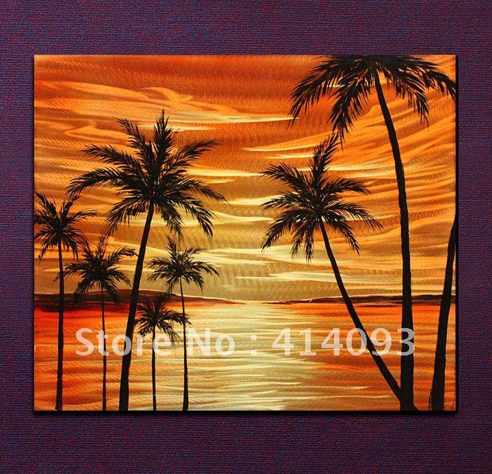 24 free shipping wholesale seascape metal wall artwork Metal wall decor cheap