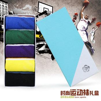 Free lots 1set/5pairs  male sports socks 100% cotton sweat absorbing anti-odor summer thin basketball  football socks