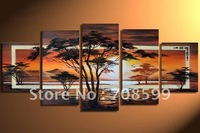 hot sale  pure hand-painted Grassland African sunrise High Q. Home Decoration Modern Landscape Oil Painting on canvas