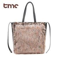 New Vogue Chic TMC Ladies Coffee Fur Tote Bag Fashion Carry Shoulder Bag Handbag YL266