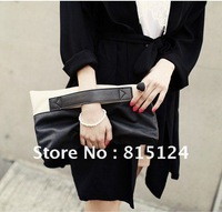 Sales free shipping fashion contrast color Clutch tote bag, pu leather women handbags, shoulder bag