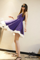 Issue60 princess purple big skirt sleeveless one-piece dress