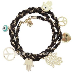 New Arrival Wholesale Fashion vintage Handmade Evil Eye Hamsa Hand Long Charm Bracelet free shipping15pcs/lot(China (Mainland))