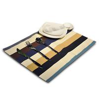 Cotton canvas striped placemat/Blue Black Brown Linen table mat Mats & Pads /  32*45