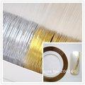 무료 배송, 50 개 골드 컬러 + 50 개 금속 원사 실버 컬러 스트라이핑 테이프 라인 네일 아트 장식 스티커