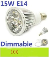 10pcs/lot High Power Dimmable E14 5X3W Led Lamp 15W Spotlight 85V-265V Led Light Lighting Led Bulbs free shipping