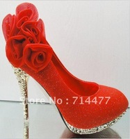 2012 women's shoes wedding shoes high heels gold big flower cheongsam shoes fashion red ,gold, champagne