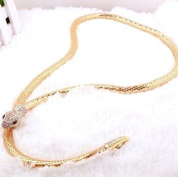 41E44 Fahion Personality ! Gold Snake Chain necklace \ Bracelet\Belt Jewelry !!cRYSTAL ...