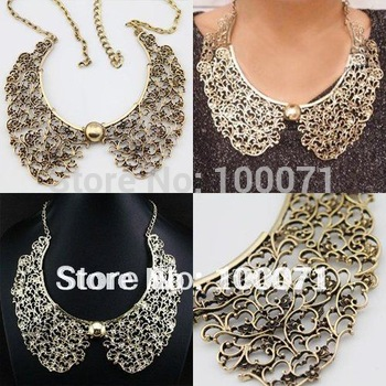 Classic Vintage Style Bronze Hollow Metal Flower Shaped False Collar Choker Bib Necklace  #23454