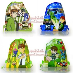 1Pcs BEN 10 Alien Force Cartoon Drawstring Backpack Bag School Bag Christmas Gift Non-woven Material Children Kids Bag 34X27CM(China (Mainland))