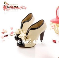 Fashion Sexy shoes Woman PU Bow high Heel Shoes Pump Platforms Ankle Boots Free Shipping 1pair