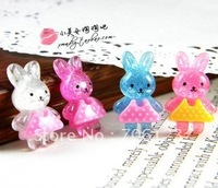 DIY Garment hair decorations Accessories small rabbit 15mm FlatBack Resin 100pcs Mix colors