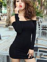 Women Ladies Off Shoulder Long Sleeve Evening Clubwear Mini Dress Black[240408]