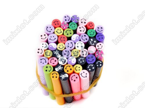 DIY Slice Tips Decoration Smiling Face & Skull Nail Fimo Canes Rods Sticks 150PCS(3Boxes)(China (Mainland))