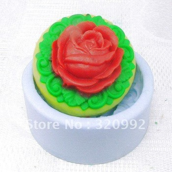 Free shipping  DIY Round Rose Silicone Soap Molds Mould For Soap Candy Cake decoration handmade soap mould