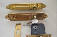 135mm Free shipping 2pcs handles with lock body+keys/set copper sliding door lock