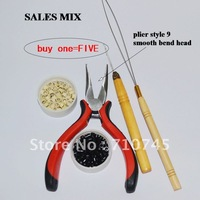 HOT buy 1=5 Free Shipping Hair accessories/Tools 1pc Plier +1pc Loop needle +1pc Needle Hook +100pcs silicone+100 pcs ring beads
