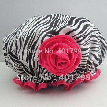 Fashionable Leopard Grain Satin bath hat