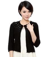 9381 ol elegant women's rabbit fur beading cape outerwear sweater cardigan