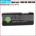 New Dual Core IPTV MK806 RK3066 1.6G (Cortex-A9)Android 4.1 jelly bean Mini TV Box DDR3 1GB+4GB Google TV HK Post Freeshipping
