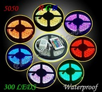 RGB Led Strip Waterproof 5M SMD 5050 300 leds/roll +24 keys IR Remote Free Shipping 10M/lot led Flexible Tape Light high quality
