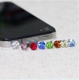 hot 300pcs diamond bling bling ear cap Earphone Jack Anti-dust Plug dustproof plug for iphone 4 3G ipad without box(China (Mainland))