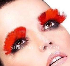 80pairs 2012 Party Charming Exaggeration Handmade Makeup Dot Halloween Performance Eye Colored Original Feather False Eyelashes