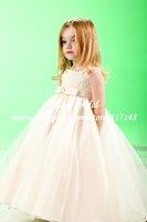 GA169 Sleeveless Appliques Champagne A Line Organza Flower Girl Dress for Weddings