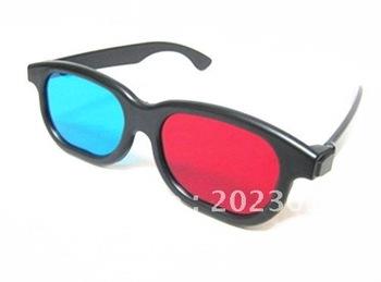 Free shipping 500pcs/lot Plastic 3d glasses red / Blue sunglasses 3D TV movie