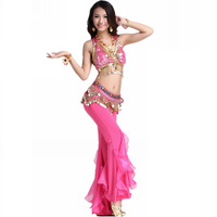 Belly dance quality set top trousers belly chain necklace bracelet 2 + earrings 2